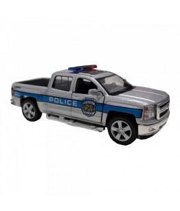 Masinuta de politie Chevrolet Silverado, GoKi, gri/albastru, die-cast, 12.5 cm