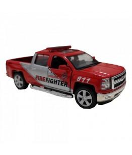 Masinuta de pompieri Chevrolet Silverado, GoKi, rosu/gri, die-cast, 12.5 cm