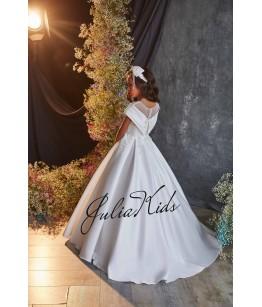 Rochie eleganta pentru fetite, lunga, cu trena, tulle/broderie, 2-18 ani, JuliaKids, 29155