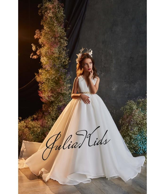 Rochie eleganta pentru fetite, lunga, cu trena, tulle/broderie, 2-18 ani, JuliaKids, 29156