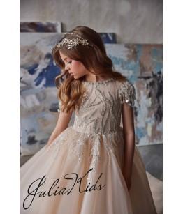 Rochie eleganta pentru fetite, lunga, cu trena, tulle/broderie, 2-18 ani, JuliaKids, 29163