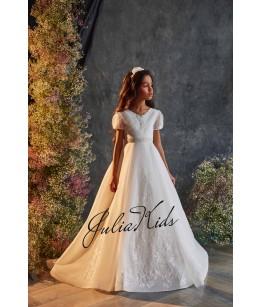 Rochie eleganta pentru fetite, lunga, cu trena, tulle/broderie, 2-18 ani, 29164
