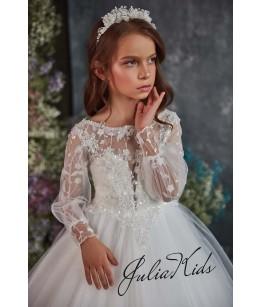Rochie eleganta pentru fetite, lunga, cu trena, tulle/broderie, 2-18 ani, JuliaKids, 29165