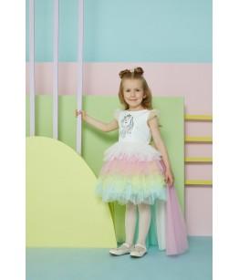 Rochie de fetita Unicorn cu trena detasabila, 4-8 ani, Pamina, 29234
