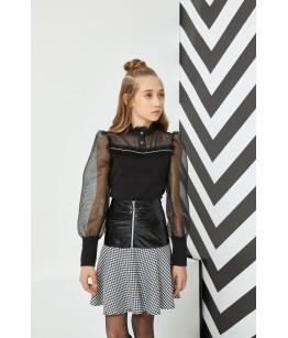 Bluza din tulle si fusta din piele, 8-12 ani, Pamina, 29237