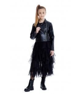 Set fusta tulle si  geaca din piele, 8-12 ani, Pamina, 29238