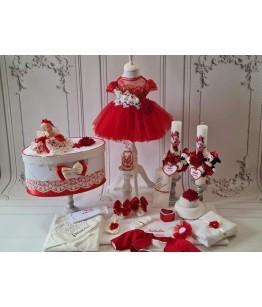 Set complet pentru botez rosu, 0-12 luni, fata, JuliaKids, 29291