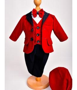 Costum catifea rosie cu rever satinat, 0-4 ani, 29339