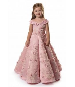 Rochita lunga roz cu aplicatii florale, 1-16 ani, JuliaKids, 29389