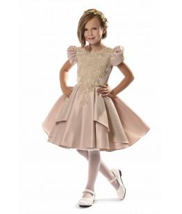Rochie scurta de ocazie, roz pudra, 1-16 ani, JuliaKids, 29390