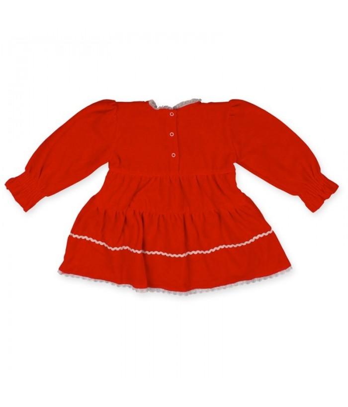 Rochita de zi pentru fetite model 2, catifea cu maneca lunga, 2 ani, 92 cm