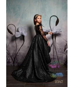 Rochie cu trena lunga de printesa, Maryam, tafta cu broderie, maneca dantela, 2-13 ani, 92-158 cm, 7649