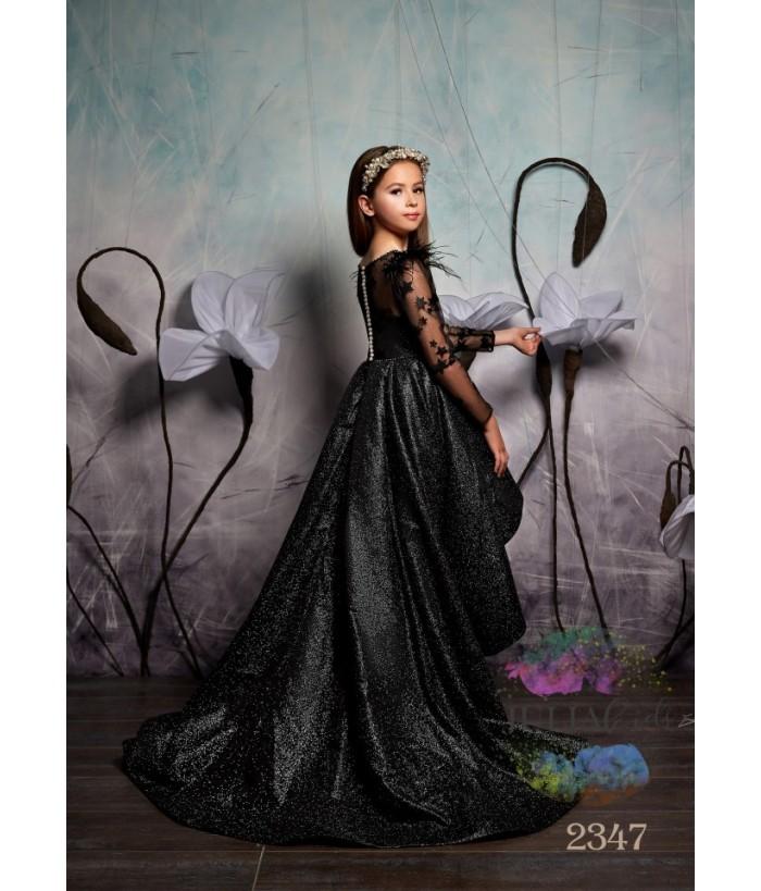 Rochie cu trena lunga de printesa, Maryam, tafta cu broderie, maneca dantela, 2-13 ani, 92-158 cm