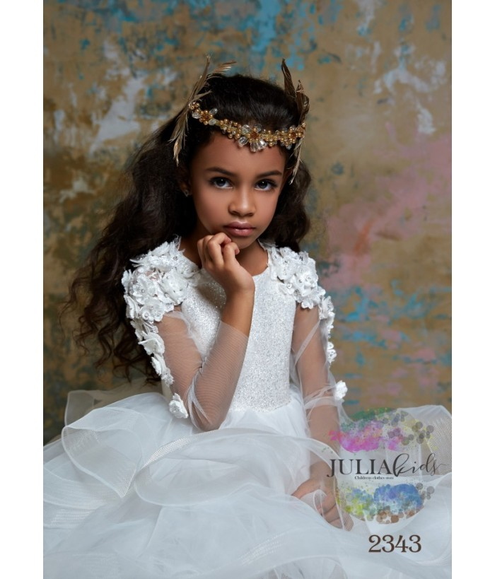 Rochie de ocazie de fetite,Tania, tulle si aplicatii florale, 2-13 ani, 92-158 cm