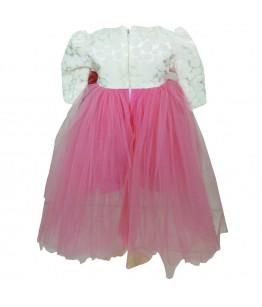 Rochita pentru fetita cu trena, botez, maneca lunga, tafta crem, tulle fin roz, 3-9 luni, 62-74 cm