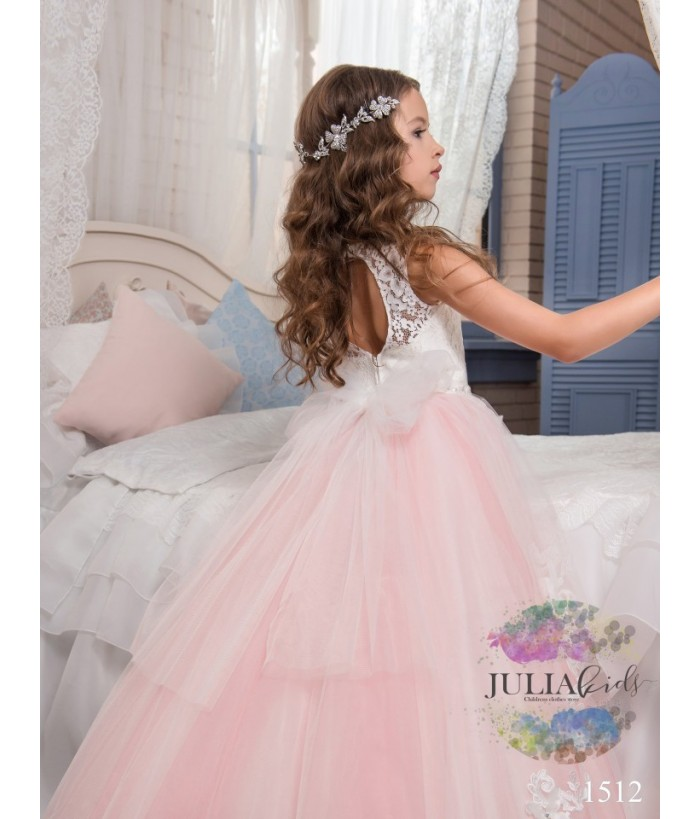 Rochie cu trena lunga de fetite, broderie cu aplicatii florale, 2-13 ani