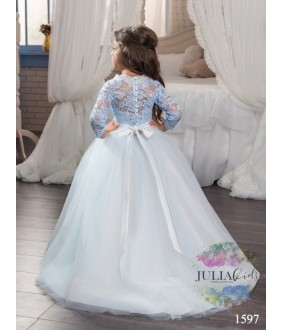 Rochie ocazie, fata, lunga, 2-13 ani, tulle si broderie