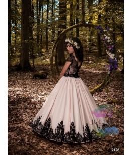 Rochita eleganta pentru fetite, tafta roz si broderie neagra, 2-13 ani, 9686