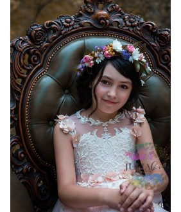 Rochita  roz somon, pentru printese, voal cu broderie, 2-13 ani