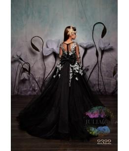 Rochie  lunga fete, cu aplicatii florale, 2-13 ani, 92-158 cm, tulle, JuliaKids, 9844