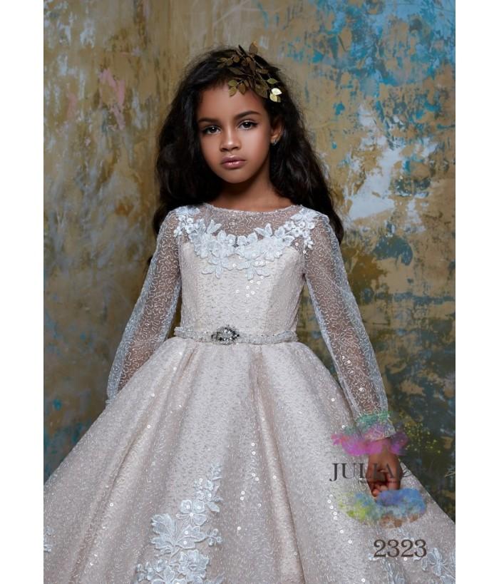 Rochie de lux, Ayline, lunga, cu trena, tafta/broderie/dantela, 2-13 ani