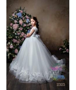 Rochie eleganta pentru fetite, Azaleea, lunga/ cu trena, tafta/tulle/broderie, 2-13 ani, 9846