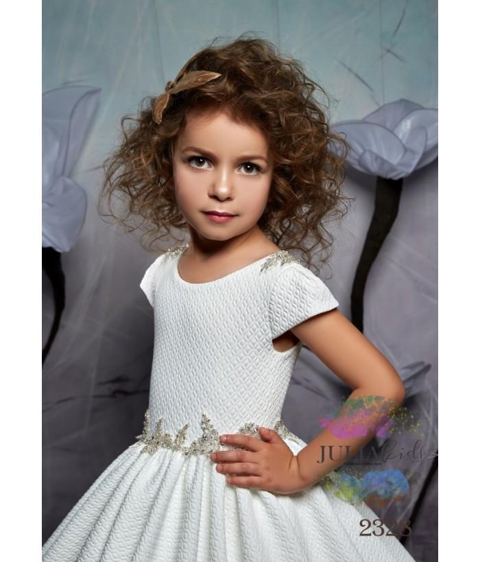Rochie lunga pentru fetite, 2-13 ani, 92-158 cm, tafta, alba, JuliaKids, 9849