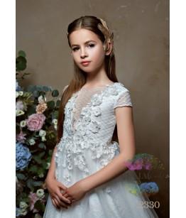 Rochie eleganta pentru fetite, prima impartasanie, Amina, lunga, tafta/tulle, 2-18 ani, 9851