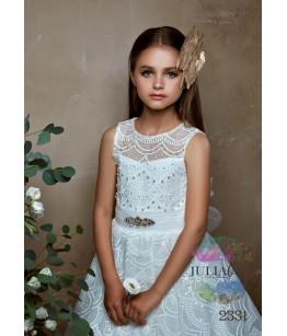 Rochie eleganta pentru fetite, Anastasia, lunga, cu trena, tulle/broderie/dantela, 2-13 ani