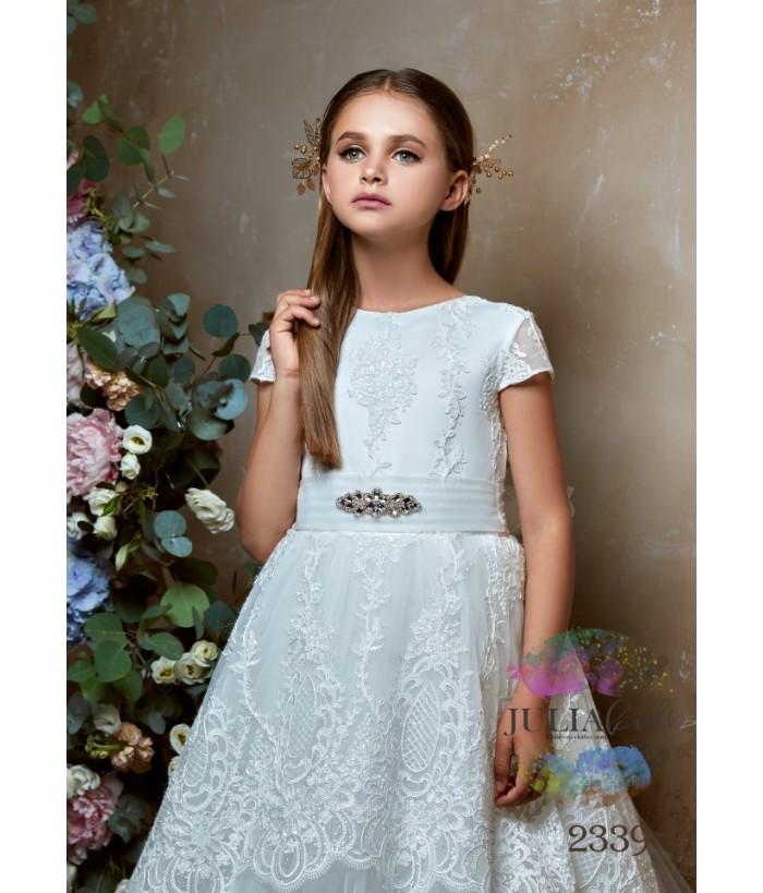 Rochie eleganta pentru fetite, Sophia, lunga, tulle/broderie/dantela, 2-13 ani