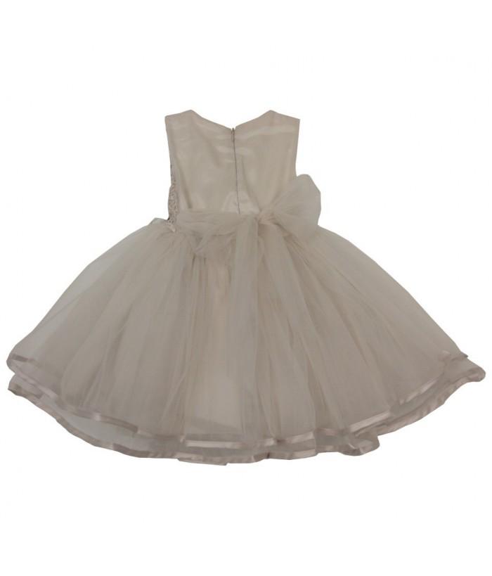Rochita pentru fetite Alexia, ivory, broderie, tulle, 1-5 ani, 86-110 cm