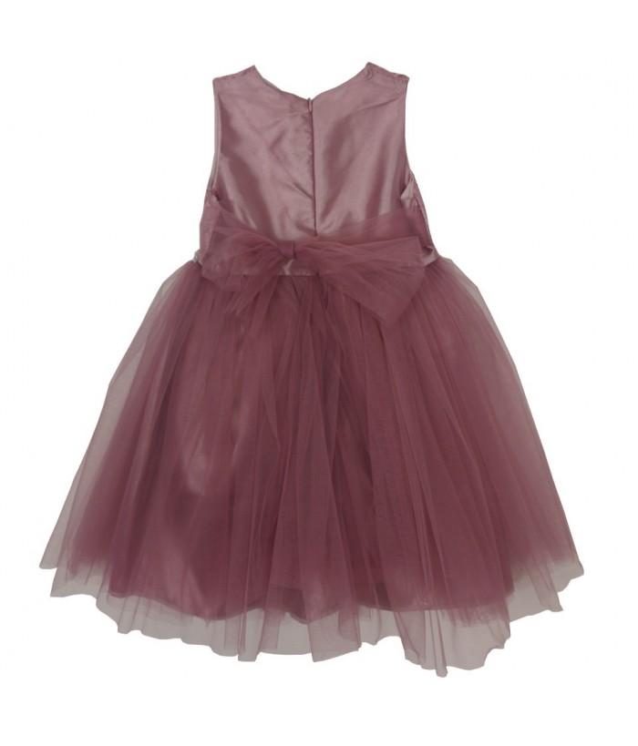 Rochita pentru fetite Alexia, roz pudra, broderie, tulle, 1-5 ani, 86-110 cm