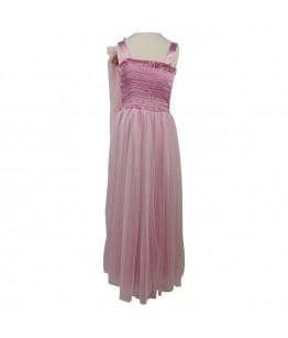 Rochita pentru fete, lunga, ocazie, Alina, paiete si tulle roz, 9-15 ani, 134-170 cm