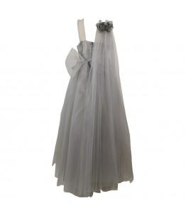 Rochita pentru fete, lunga, ocazie, Alexandrina, tafta si tulle gri deschis, 11-15 ani, 146-170 cm