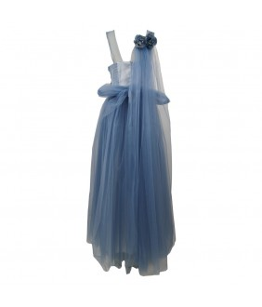 Rochie pentru fete, lunga, ocazie, Alexandrina, tulle si tafta bleu deschis, 11-15 ani, 146-170 cm