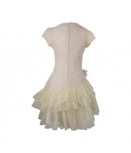 Rochita pentru fetite, Afrodita, crem, brocart si tulle, 6-10 ani, 116-140 cm, 25695