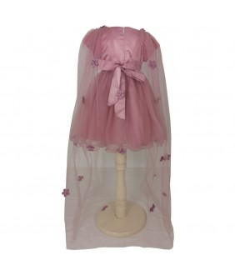 Rochita pentru fetite, Tiana Pink, cu voal, 2-5 ani, 92-110 cm