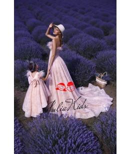 Rochii Mama-Fiica Little  Lady Rania, roz, tafta, cu trena lunga