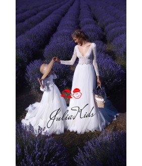 Rochii Mama-Fiica Little  Lady Anna, albe, tulle fin si broderie