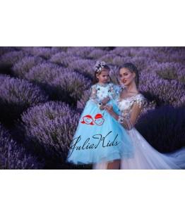 Rochii Mama-Fiica Little  Lady Daruka, lungi, tulle fin si broderie
