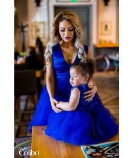 Rochii Mama-Fiica Little Lady Antonia, tafta/tulle, albastre, Colibri