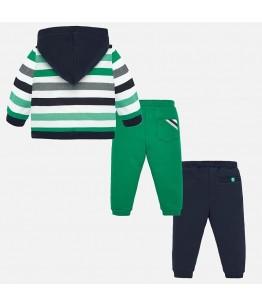 Compleu bebe, baiat, 18 luni-3 ani, 86-98 cm, verde/bleumarin, bumbac, 3 piese, Mayoral, 26864