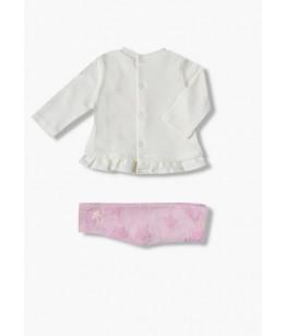 Compleu nou nascut, fata, 0-9 luni, 50-74 cm, 2 piese, bumbac, Losan, 26880