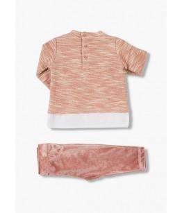 Compleu bebe, fata, roz, 3 luni - 2 ani, 62-92 cm, doua piese, Losan, 26915