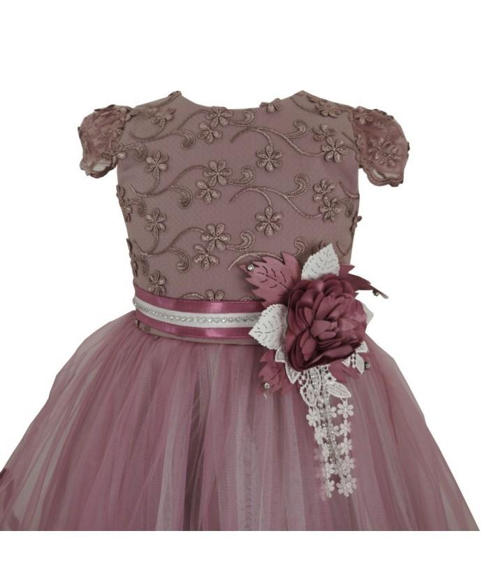 Rochita pentru fetite, Merida, roz pudra, cu trena, 7-10 ani, 122-140 cm
