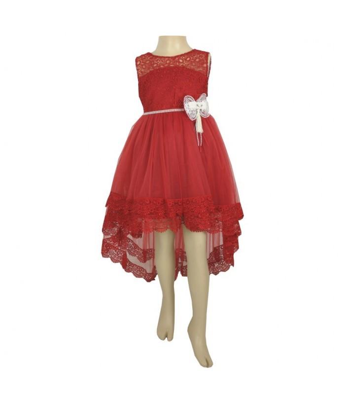 Rochita pentru fetite, Elizabeth Red, cu trena, 3-10 ani, 98-140 cm