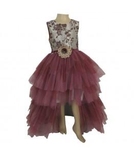 Rochita pentru fetite Nicole, cu trena, roz pudra, 8-12 ani, 128-152 cm
