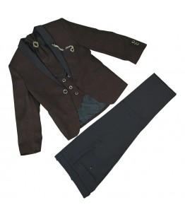 Costum elegant baiat, Aiden, grena, cu imprimeu, stofa, 1-13 ani