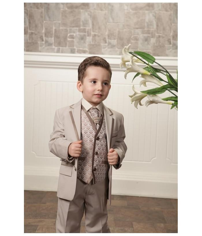 Costum elegant pentru baieti, Ethan, stofa, bej, 1-13 ani
