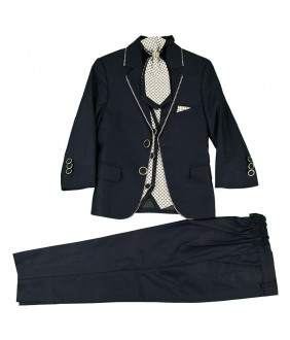 Costum elegant baieti, David, bleumarin, stofa, 1-13 ani